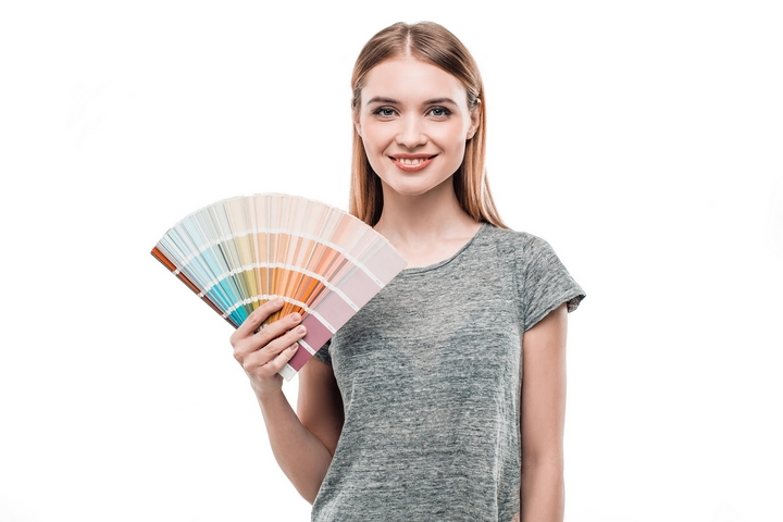 Painter Woman With Colourful Design Swatches On White Background